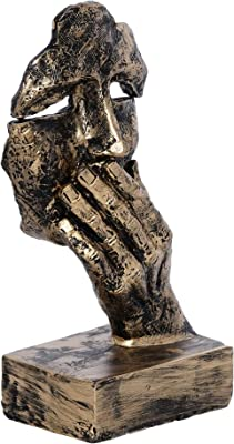 Webelkart Poly Resin Human Face Sculptures Showpieces Creative Traditional Idea with Modern Theme Abstract Design Art Figurines for Home Living Room Decorative Display (Black, Golden)