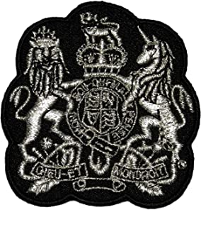Silver Lion Unicorn Royal Crown Crest Coat of arms DIY Applique Embroidered Sew Iron on Patch COA-002