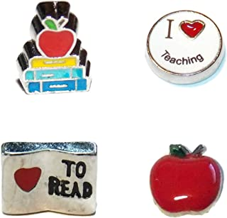 Teacher Charms Four Pack - Educator Gift, Love to Read, Stack of Books, Apple - Old School Geekery TM Brand Floating Locket Charms