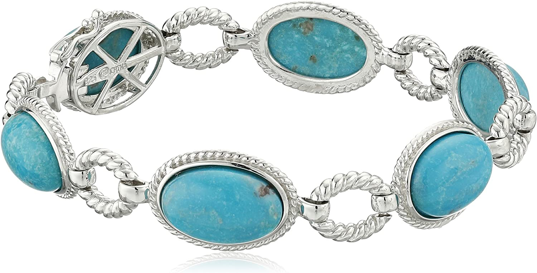 Oval Chunky Turquoise Beaded Bracelet Large Oval Turquoise Bracelet Blue Turquoise Bracelet Large Turquoise and Sterling Silver Bracelet