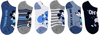 Disney Womens Mickey Mouse Ankle-No Show Socks 6 Pair Pack (Light/Blue)