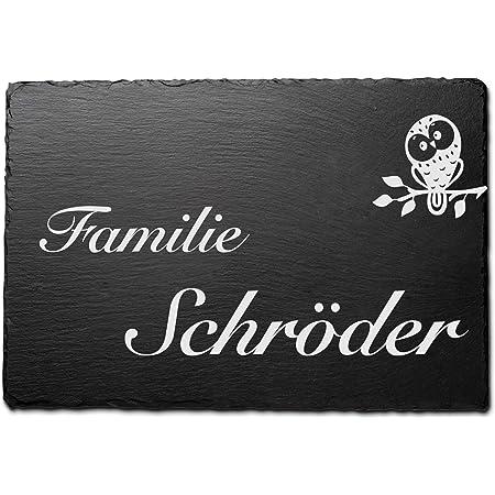 Gr/ö/ße 16x8 cm Namensschild Briefkastenschild selbstklebend//blank Klingelschild mit mehr als 80 Motive Schiefer T/ürschilder mit Gravur