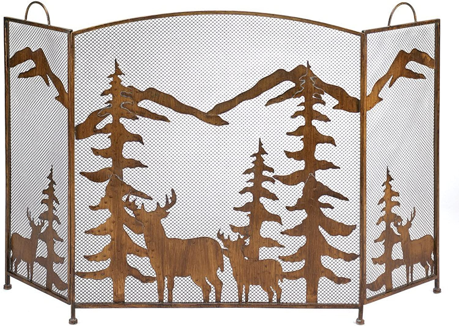 Rustic Forest Fireplace Screen (29.9  x 13  x 32.4)