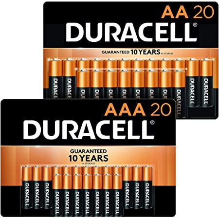 Duracell - CopperTop AA + AAA Alkaline Batteries Combo Pack, 20 Count Each - Long Lasting, All-Purpose Double A & Triple A Battery - 40 Count Total