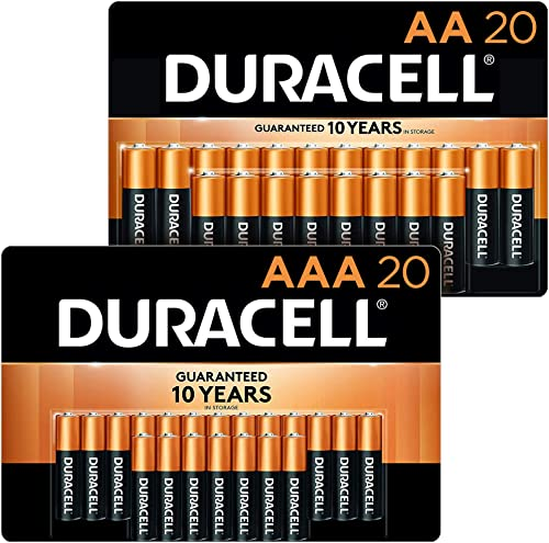 Duracell - CopperTop AA + AAA Alkaline Batteries Combo Pack, 20 Count Each - Long Lasting, All-Purpose Double A & Tri...
