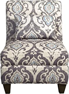 HomePop Slipper Armless Accent Chair with Pillow, Blue Slate