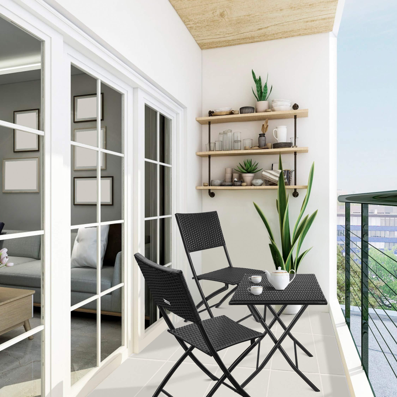 amzdeal Conjuntos de Muebles de Jardín/Balcón/Terraza Material Ratán Tejido 2 Sillas Una Mesa Plegable Negro: Amazon.es: Jardín