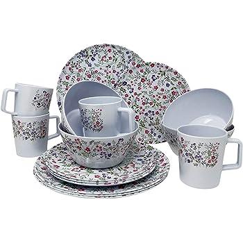 Vajilla de melamina para picnic 16 piezas para 4 personas Latte Rund Seramika