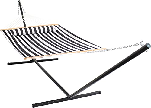 2021 Sunnydaze Quilted Hammock discount with Stand 2 Person Heavy Duty new arrival - Double Hammock with 15 Foot Steel Stand for Backyard & Patio - 400 Pound Weight Capacity - Black & White outlet online sale