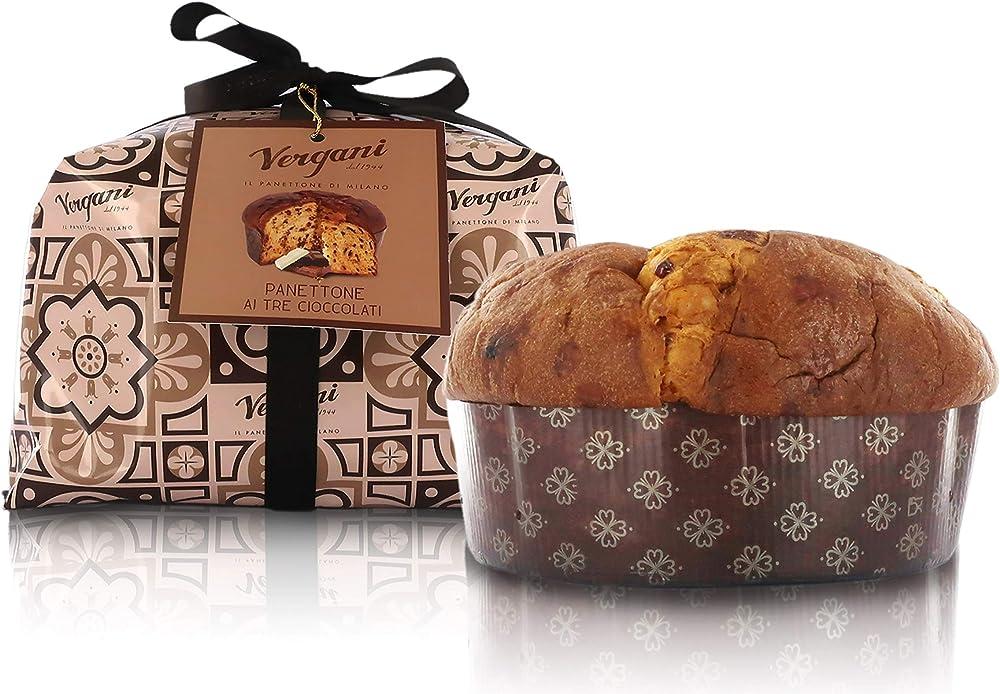 Vergani panettone ai tre cioccolati, antica ricetta, incartato a mano - 1kg