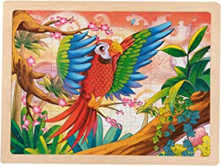 Wondertoys 100 Pieces Wooden Jigsaw Puzzles for Kids Parrot Puzzles with Storage Tray, Size 15.6X 11.7 inch