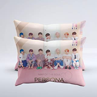 """2 Pcs BTS Map of The Soul Persona Throw Pillow Cover 20""""x30"""" with Hidden Zipper"""