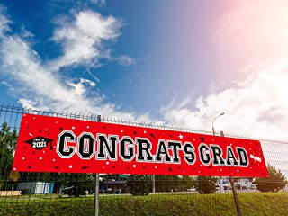 Dazonge 2021 Graduation Decorations Red and Black - Large Congrats Grad Banner 19.7x118 Inches - Graduation Party Supplies...