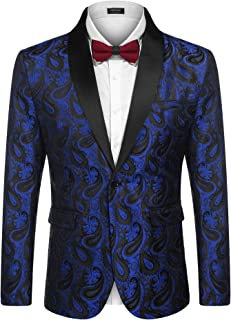 COOFADNY Mens Floral Tuxedo Jacket Paisley Embroidered Suit Blazer Jacket for Dinner,Party,Wedding,Prom