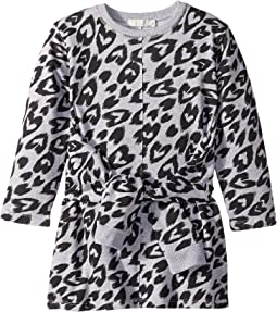 Cloud Tie Front Long Sleeve Heart Cheetah Sweater Dress (Toddler/Little Kids/Big Kids)