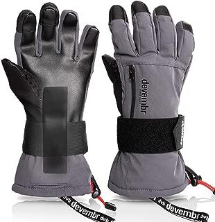 Ski Gloves Men&Women,devembr Waterproof Snow Gloves with Detachable Wrist Guard