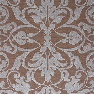 Swirls, Brown/Silver Damask Modern Wallpaper for Walls - Double Roll - by Romosa Wallcoverings LL7565