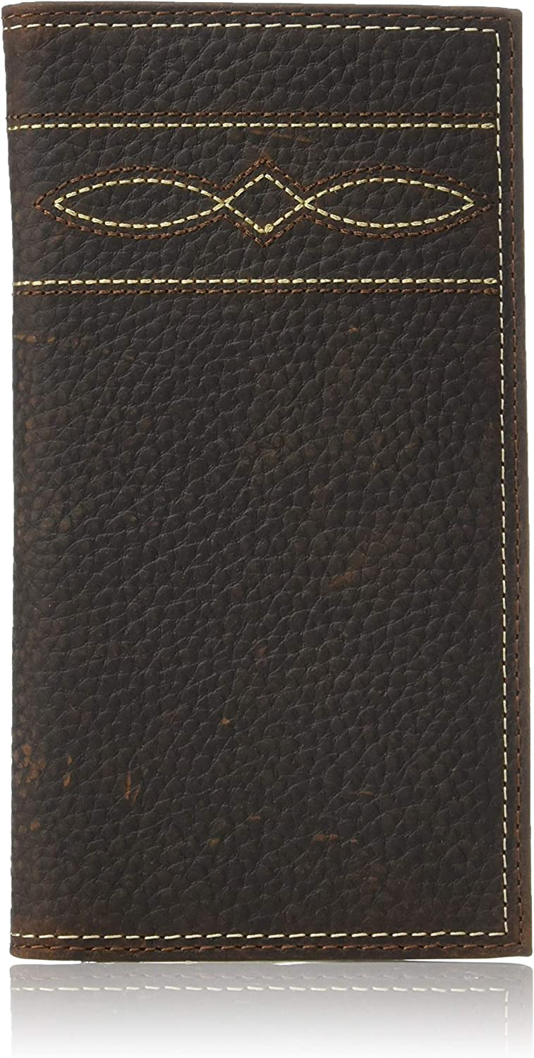 Ariat Men's Wave and Diamond Stitch Rodeo Wallet, brown