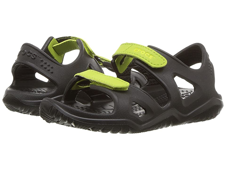 Crocs Kids Swiftwater River Sandal (Toddler/Little Kid) (Black/Volt Green) Kids Shoes