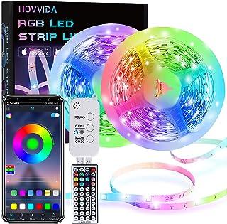 15M LED Strip, HOVVIDA Bluetooth Muziek LED-strip voor Kamer, Aangestuurd door APP, IR-afstandsbediening en Controller, 16...