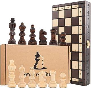 Schackspel schackbräde i trä 35 cm – schackbräde i set vikbart med schackpjäser 35 x 35 cm