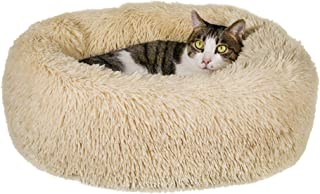 Qucey Dog Cat Bed Soft Comfortable Faux Fur Donut Cuddler, Self-Warming Fluffy Dog and Cat Calming Cushion Bed with Non-Sl...