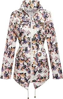 Girls Kids Children Floral Showerproof Mac Parka Fishtail Raincoat Jacket