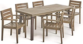 Christopher Knight Home Avalon Outdoor Acacia Wood 6 Seater Patio Dining Set, Gray and Rustic Metal