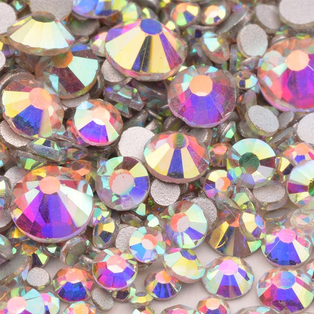 高品質ガラスストーン mixサイズ SS20 SS16 SS12 SS10 SS8 SS6 SS4 SS3 (入数1000粒以上) (オーロラmix)