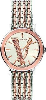 Versace - V BAROCCA VEHC005 19 - Reloj de pulsera para mujer (correa de acero inoxidable), color plateado y dorado rosa