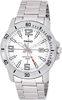 Casio Men's Quartz Watch, Analog Display and Stainless Steel Strap Mtp-Vd01D-7Bvudf, Silver Band