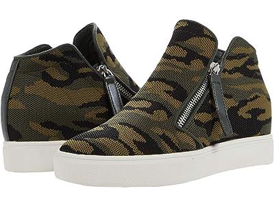 Steve Madden Click Wedge Sneaker (Green Camo) Women