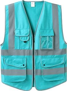 Uninova Safety Vest High Visibility - 9 Pockets Reflective Vest for Men & Women - ANSI/ISEA Standards (Small, Lake Blue)