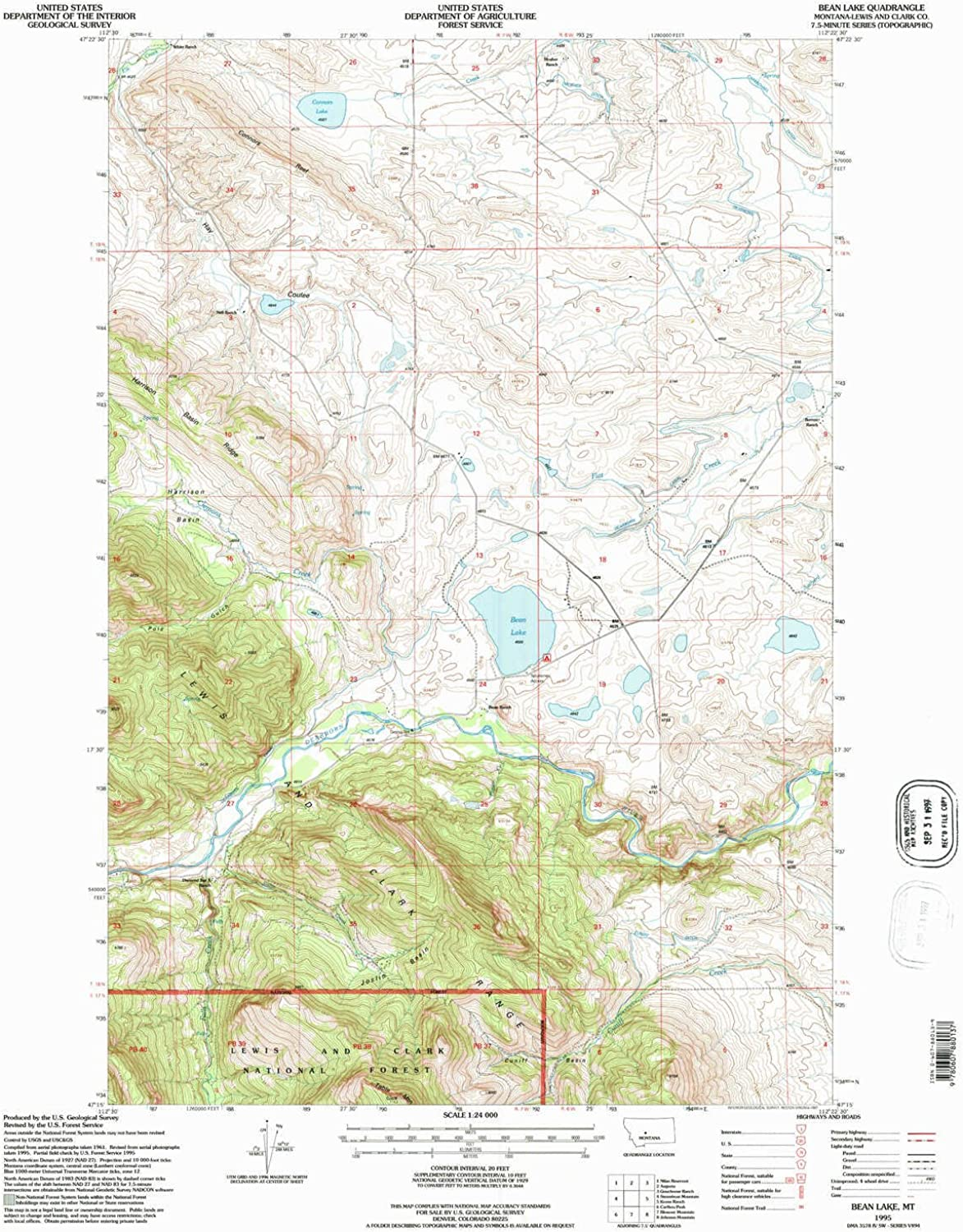 Bean Lake MT topo map, 1 24000 Scale, 7.5 X 7.5 Minute, Historical, 1995, Updated 1997, 27.1 x 21.9 in