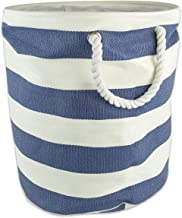 DII Collapsible Laundry Hamper or Basket for Bedroom, Nursery, Dorm, or Closet (Small Round) - Nautical Blue Rugby Stripe