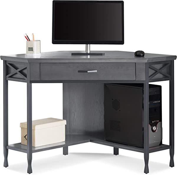 Leick 23430 Chisel Forge Corner Writing Desk Smoke Gray Matte Black