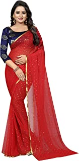 IndoPrimo Women's Fancy Cotton Saree with blouse piece