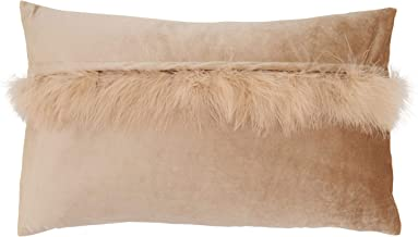 """Saro Lifestyle Flavia Collection Velvet Faux Fur Throw Pillow With Poly Filling, 12"""" x 20"""", Champagne"""