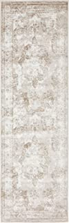 Traditional Persian Vintage Design Rug Beige Rug 2' x 6' 7'' FT (201cm x 61cm) Sofia Area Rug Inspired Overdyed Distressed Fancy