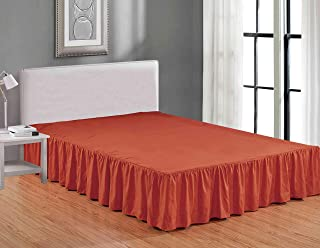 Sheets & Beyond Wrap Around Solid Luxury Hotel Quality Fabric Bedroom Dust Ruffle Wrinkle and Fade Resistant Gathered Bed Skirt 14 Inch Drop (Queen, Orange)