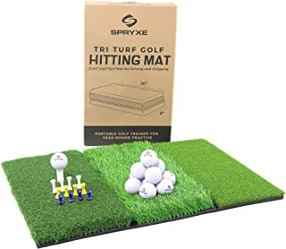 Spryxe Tri-Turf Golf Mat Set | Portable Golf Hitting Mat for Backyard | Durable Golf Mats for Home Use w/Foam Practice Bal...