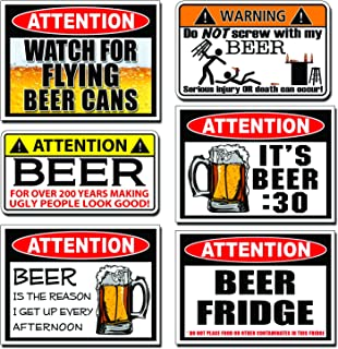 Funny BEER Warning Decal Sticker 6 SIX PARTY JOKE PACK SET