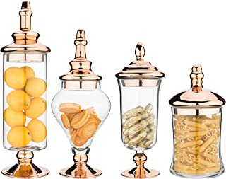 MyGift 4pcs Clear Glass Apothecary Jars with Metallic Copper-Tone Lids