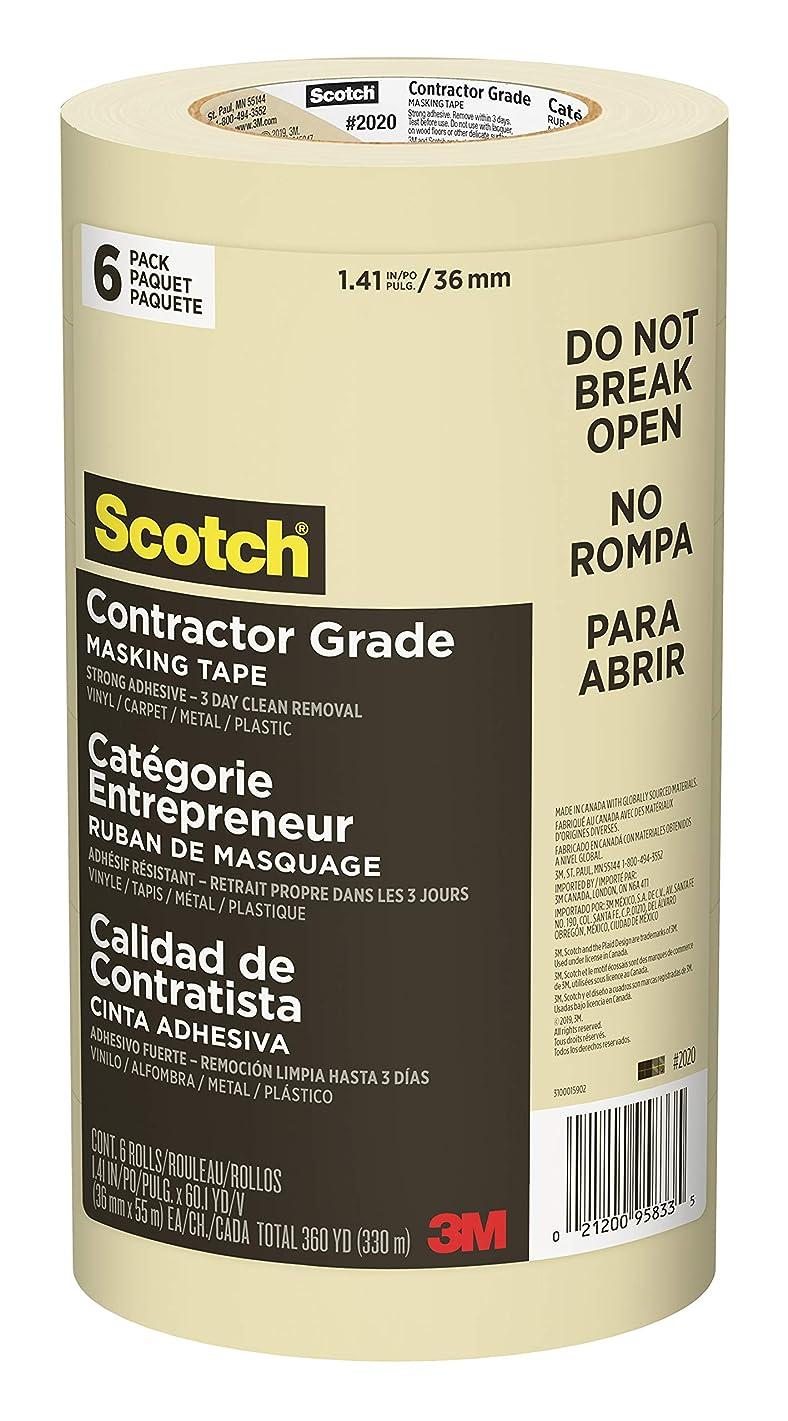 Scotch Contractor Grade Masking Tape, 1.41 inch x 60.1 yard, 2020, 6 Rolls