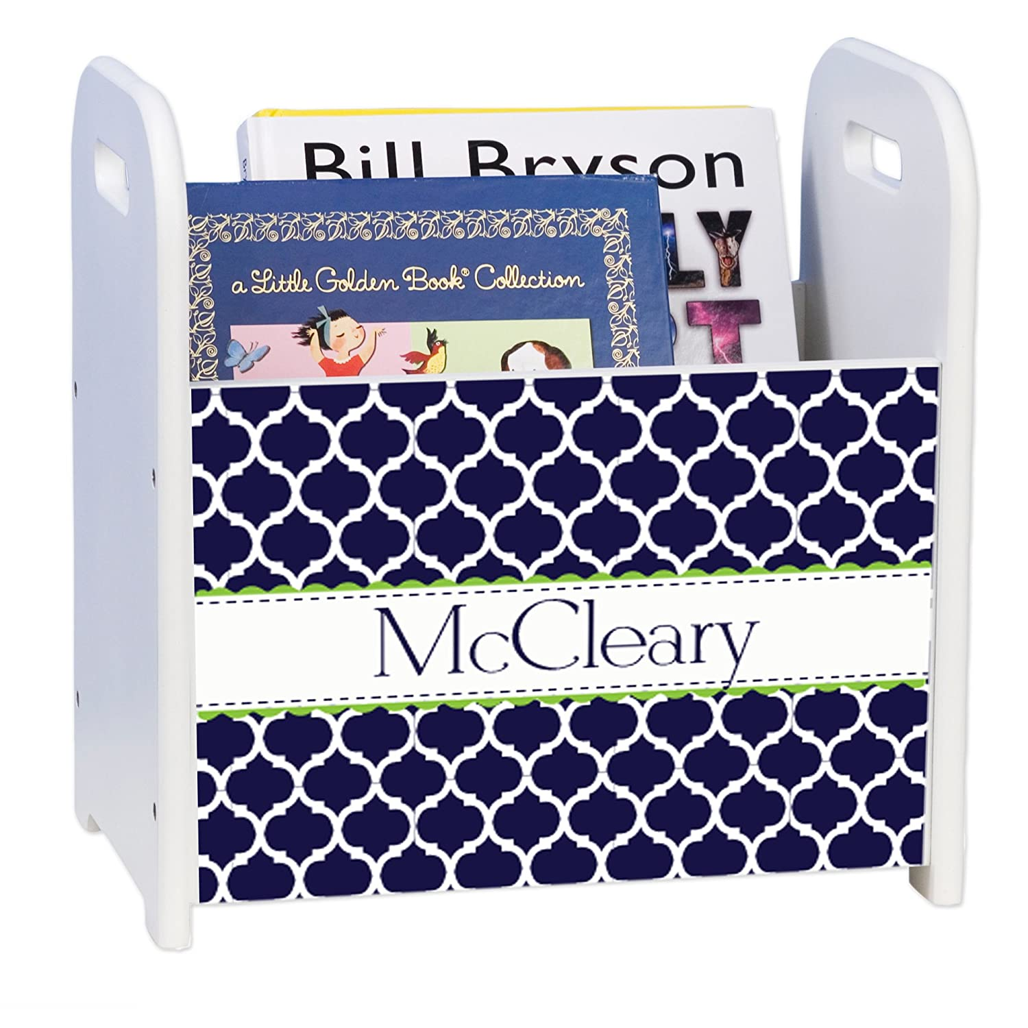 Personalized Navy Moroccan Cheap mail Max 79% OFF order sales Lime White Rack and Caddy Book