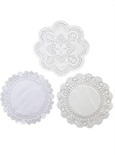 Round Paper Lace Table Doilies – 12 inch White Decorative Paper Lace Doilies Assortment of 3 Differnt Patterns (Pack of 30-10 of each)