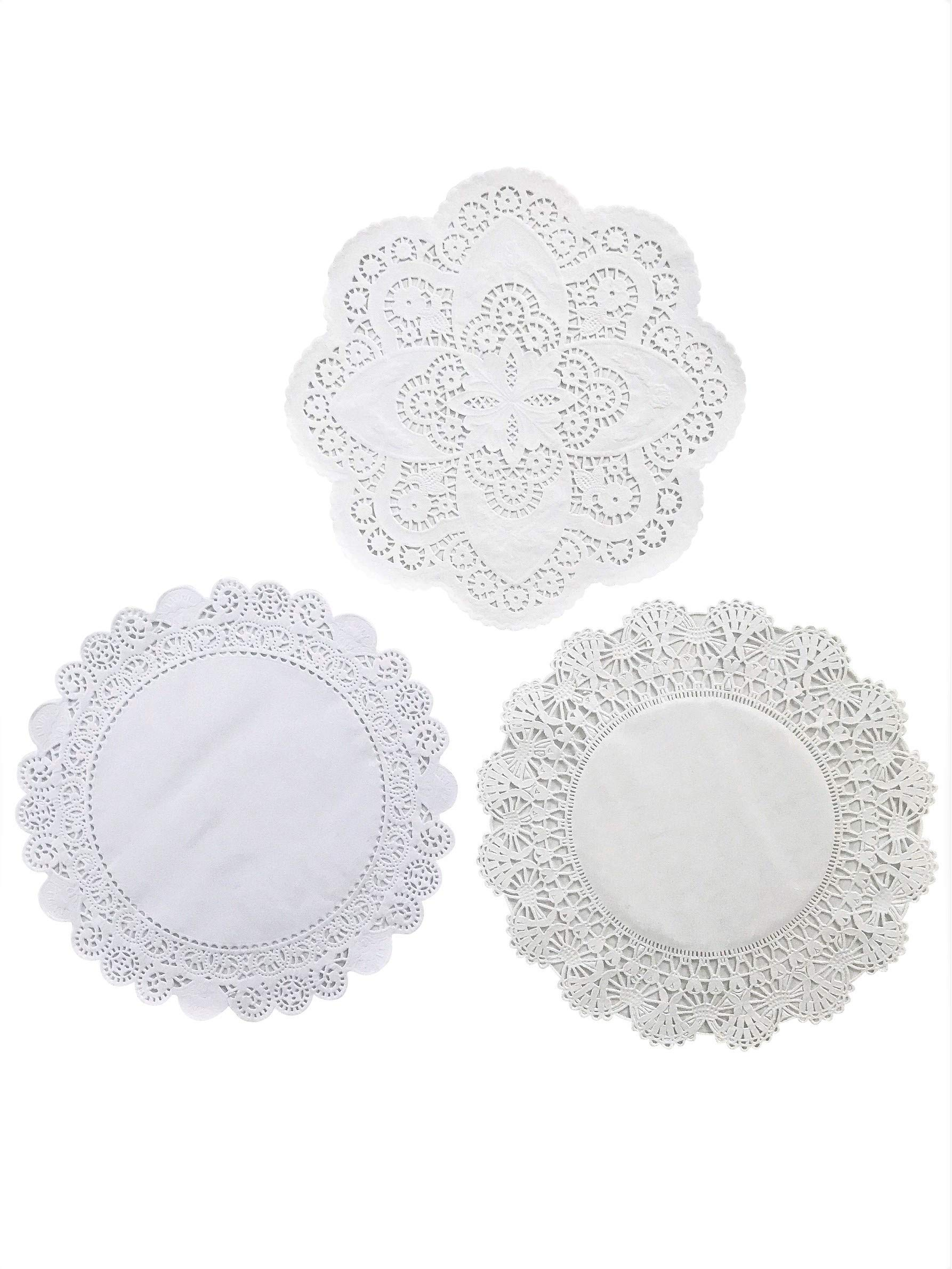 4 5 6 8 and 10 inches Assorted Sizes; White Decorative Tableware Placemats Beautiful Assortment Variety pack of 150 /– 30 of each Round paper Lace Table Doilies
