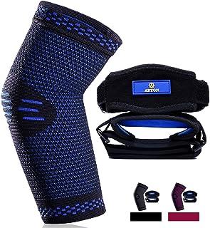 ABYON آستین فشرده سازی آرنج با فناوری جدید (1 بسته) بریس آرنج تنیس (2 بسته) ، بهترین چرخ دنده پشتیبانی از آرنج برای ورزش