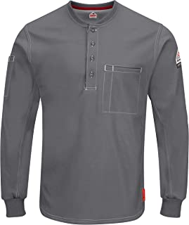 Bulwark Men's Iq Series Plus Long Sleeve Henley-Big/Tall
