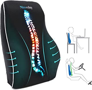 Almohada de apoyo lumbar para silla de oficina o coche, cojín lumbar de espuma viscoelástica con respaldo ortopédico de malla 3D transpirable
